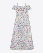 PAYSANNE Long Dress in Off White, Blue, Green and Rose Floral Printed Silk Crepon