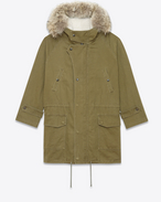 Hooded Parka in Khaki Cotton and Linen Gabardine, Ivory Shearling and Coyote Fur