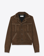 Studded Jacket in Brown Suede