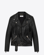 Fringed Motorcycle Jacket in Black Leather