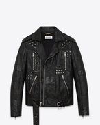 Patchwork Motorcycle Jacket in Black Leather and Black Python Embossed Leather