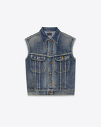 STEVE Sleeveless Jean Jacket in Dirty Blue Trash Denim