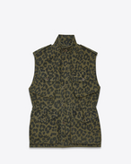 ARMY Sleeveless Military Parka In Khaki Leopard Printed Cotton
