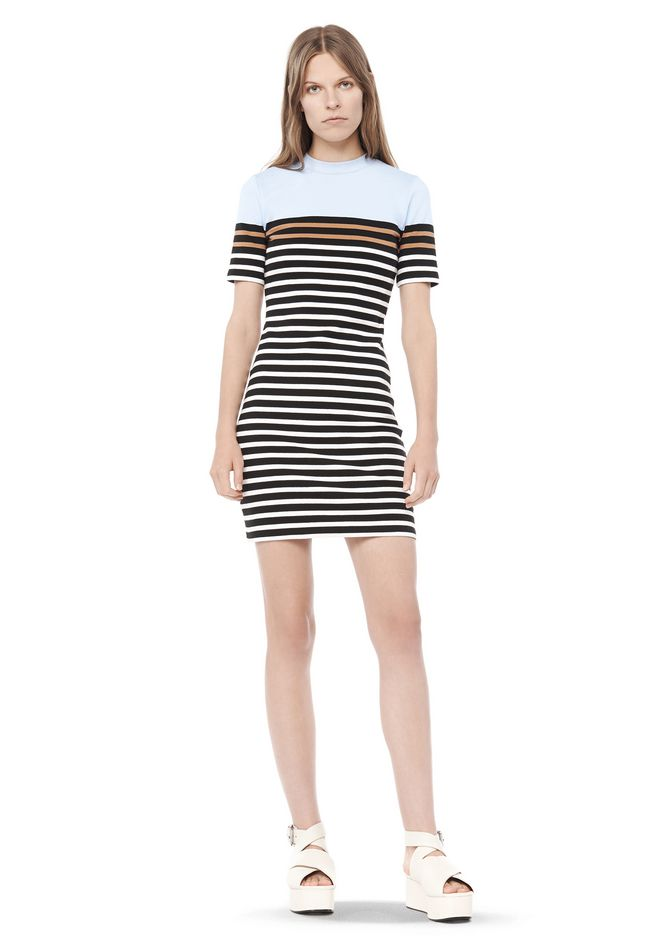 T by ALEXANDER WANG t-by-alexander-wang-sale ENGINEERED STRIPE SHORT SLEEVE DRESS