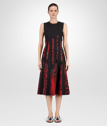 DRESS IN NERO VESUVIO PRINTED CREPE DE CHINE AND NERO COTTON VISCOSE