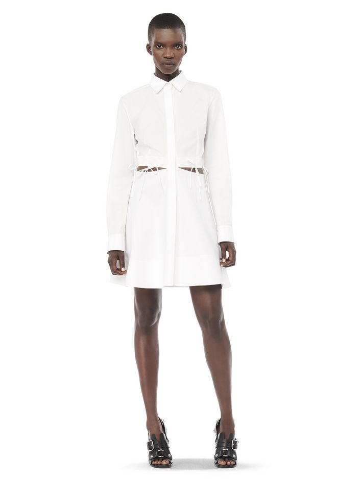 ALEXANDER WANG Short Dresses Women COLLARED SHIRT DRESS WITH WAIST TIES