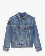 Oversized Distressed Jean Jacket in Medium Blue Denim