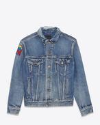 Giacca di jeans oversize effetto usato blu medio in denim