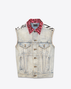 Sleeveless Jean Jacket in Light 80's Blue Denim