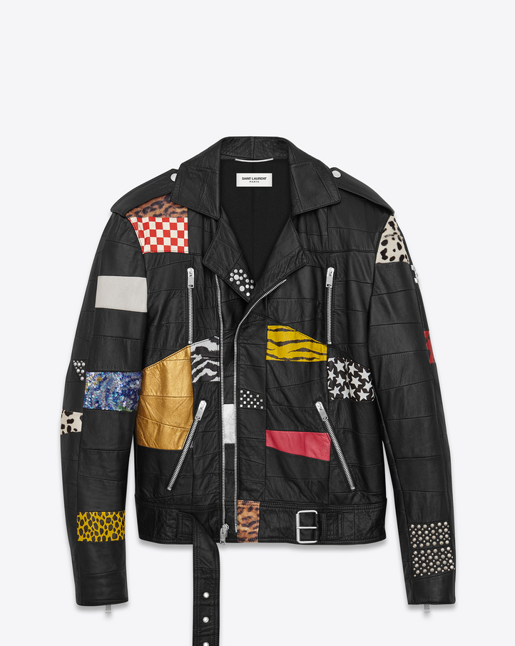 Saint Laurent Patchwork Motorcycle Jacket In Black