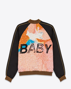 """BABY"" Teddy Jacket in Black Viscose and Multicolor Sequins"
