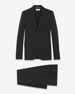 Classic Suit in Black Broken Pin Striped Mohair and Wool