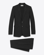 Classic Suit in Black and Anthracite Striped Wool