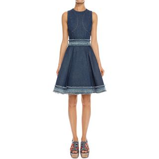 ALEXANDER MCQUEEN, Mini Dress, Frayed Denim Dress