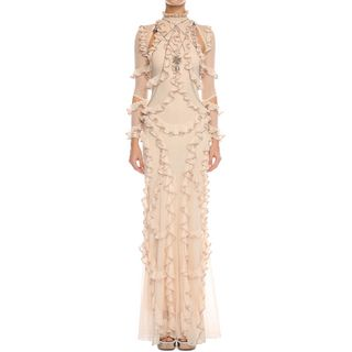 ALEXANDER MCQUEEN, Long Dress, 3/4 Sleeve Ruffle Long Dress