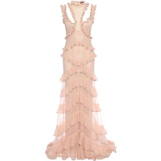 ALEXANDER MCQUEEN, Long Dress, Sleeveless Harness Ruffle Long Dress