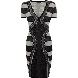 ALEXANDER MCQUEEN, Mini Dress, V-Neck Pencil Mini Dress