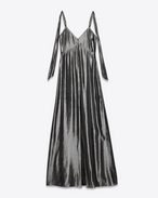 Knotted Shoulder Lingerie Dress in Dark Silver Silk and Polyester Lamé