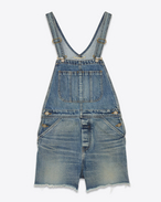 Original Short Overalls in 90's Medium Washed Blue Classic Used Denim