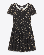 Schoolgirl Dress in Black, Silver and Gold Star and Moon Embroidered Silk Georgette