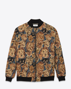 Oversized Teddy Jacket in Blue, Beige and Black Wildcat Woven Polyester and Cotton