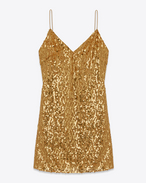 Spaghetti Strap Lingerie Mini Dress in Gold Sequins