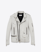 Classic Motorcycle Jacket in Chalk White and Black Washed Leather