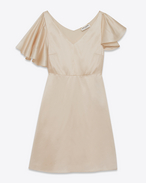 Flutter Sleeve Lingerie Dress in Ivory Satin