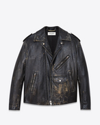 Oversized Motorcycle Jacket in Black and Beige Leather