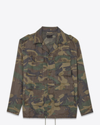 Hunter Jacket in Green Vintage Camouflage Cotton