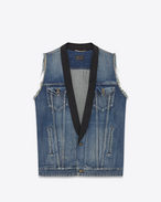 Oversized Shawl Collar Denim Vest in Worn Blue Denim and Black Satin