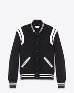 Klassische Teddy-Jacke aus schwarzer und elfenbeinfarbener Wolle