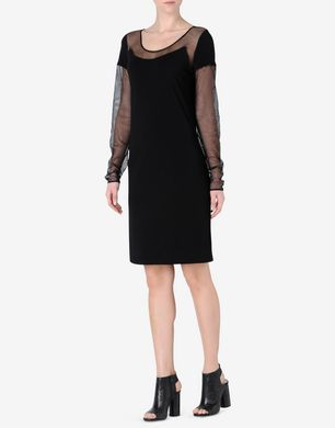 Maison Margiela Jersey sheath dress with transparent mesh detail