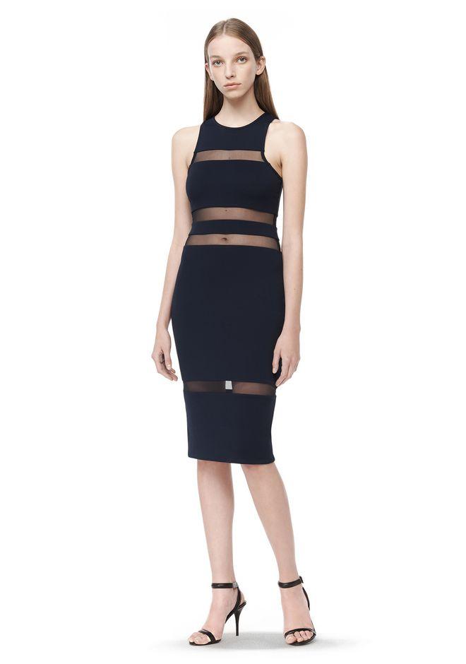 T by ALEXANDER WANG 3/4 Length dresses Women MESH STRIPE SLEEVELESS DRESS