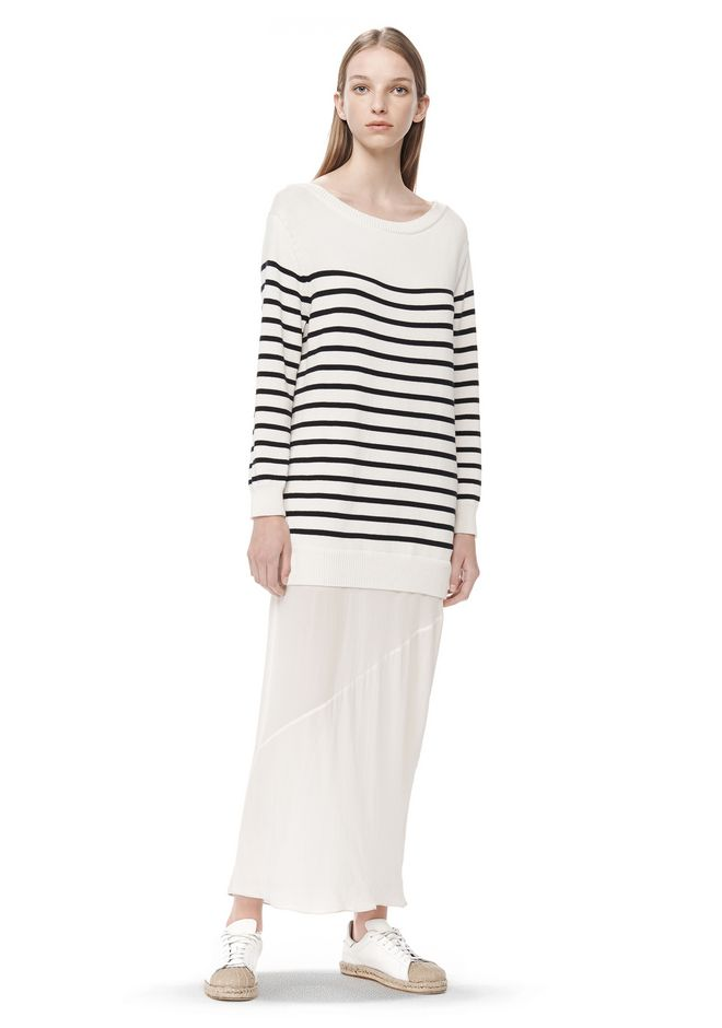 T by ALEXANDER WANG t-by-alexander-wang-sale STRIPE KNIT PULLOVER DRESS WITH SILK SKIRT
