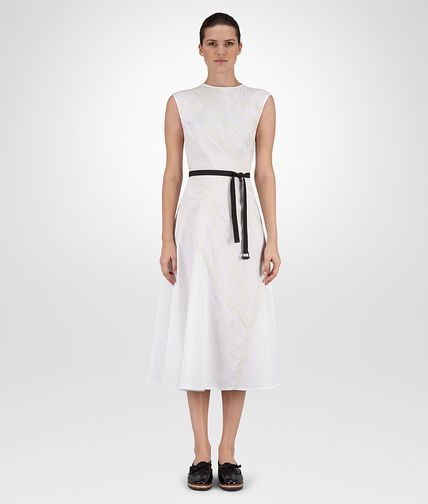 DRESS IN BIANCO COTTON WITH MIST EMBROIDERED DETAILS