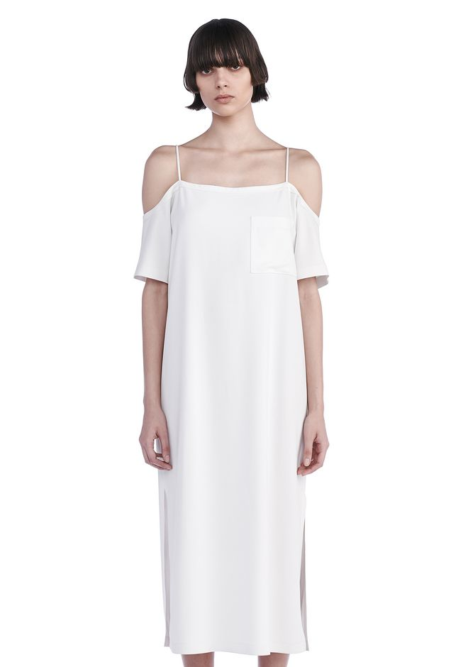 T by ALEXANDER WANG 3/4 Length dresses POLY CREPE OFF THE SHOULDER DRESS