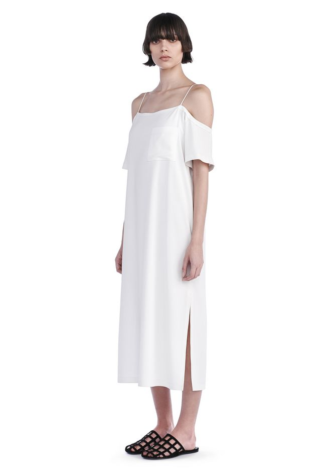 T by ALEXANDER WANG new-arrivals POLY CREPE OFF THE SHOULDER DRESS