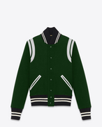 Classic Teddy Jacket in Green and White Virgin Wool and Polyamide