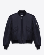Classic Bomber Jacket in Dark Navy Blue Nylon