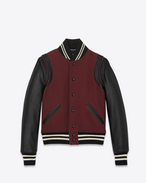 classic teddy jacket in bordeaux virgin wool, leather and polyamide
