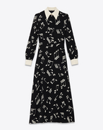 70's Long Sleeve Midi Shirt Dress in Black and Shell Musical Note Printed Viscose