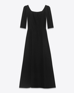 70's Square Neckline Midi Dress in Black Cupro Velour