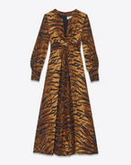 70's Midi Crossover Bodice Dress in Tan and Black Tiger Printed Silk