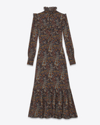 Midi Folk Dress in Multicolor Vintage Paisley Printed Viscose Crêpe