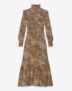 Midi Folk Dress in Tan and Black Leopard Printed Viscose