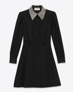 Schulmädchen-Minikleid aus schwarzem Wollsablé und durchsichtigem Strass