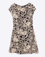 Cap Sleeve Mini Dress in Black and Ivory 70's Flower Printed Viscose Crêpe