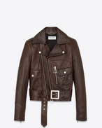 70's Motorcycle Jacket with Triangle Pulls in Brown Leather