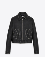ANGIE Jacket in Black Leather and Silver-Toned Metal Studs